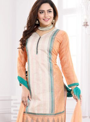 Peach Embroidered Art Silk Churidar Designer Suit