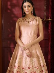 Peach Embroidered Art Silk Designer Gown