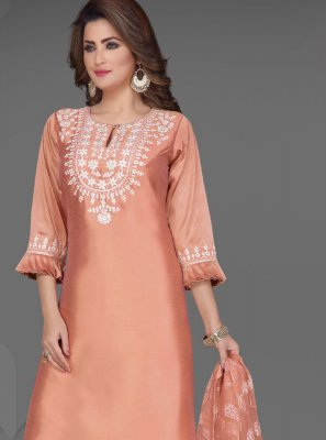 Peach Embroidered Art Silk Readymade Suit
