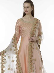 Peach Embroidered Ceremonial Designer Salwar Kameez