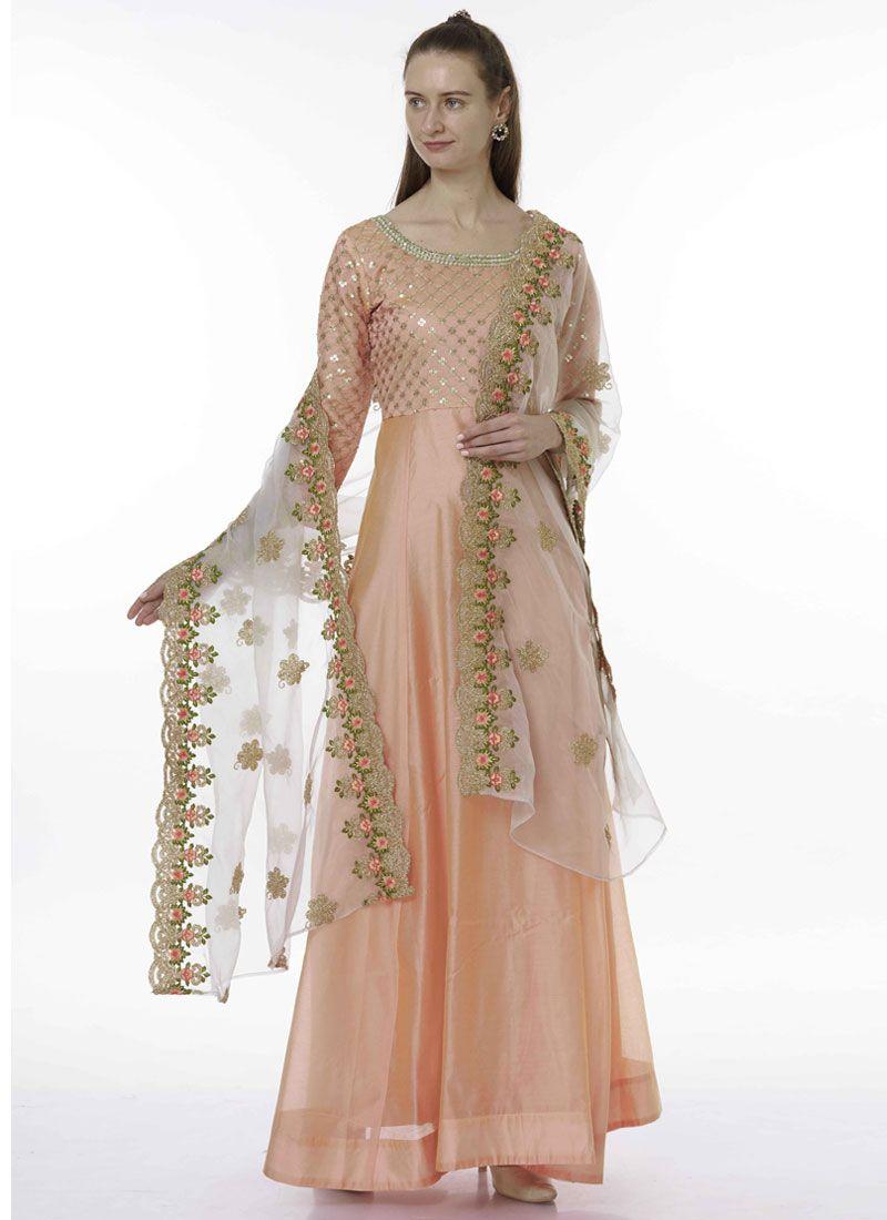 Peach Embroidered Ceremonial Designer Salwar Kameez