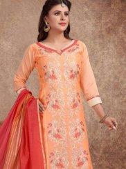 Peach Embroidered Churidar Designer Suit