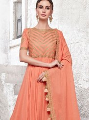 Peach Embroidered Designer Gown