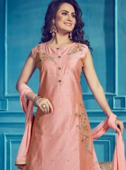Peach Embroidered Designer Palazzo Suit