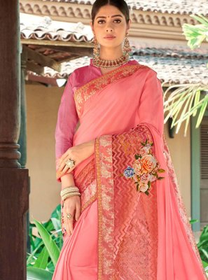Peach Embroidered Fancy Fabric Designer Traditional Saree