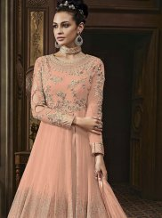Peach Embroidered Faux Georgette Trendy Anarkali Salwar Suit