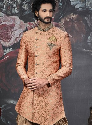 Peach Embroidered Indo Western