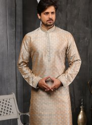Peach Embroidered Jacquard Indo Western