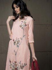 Peach Embroidered Linen Salwar Kameez