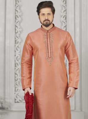 Peach Embroidered Sangeet Kurta Pyjama