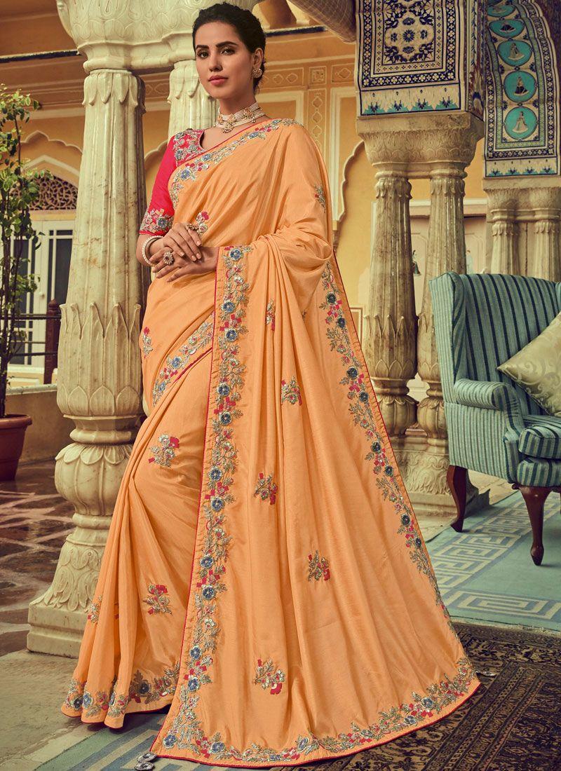 Peach Embroidered Silk Designer Traditional Saree