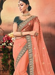 Peach Embroidered Traditional Designer Saree