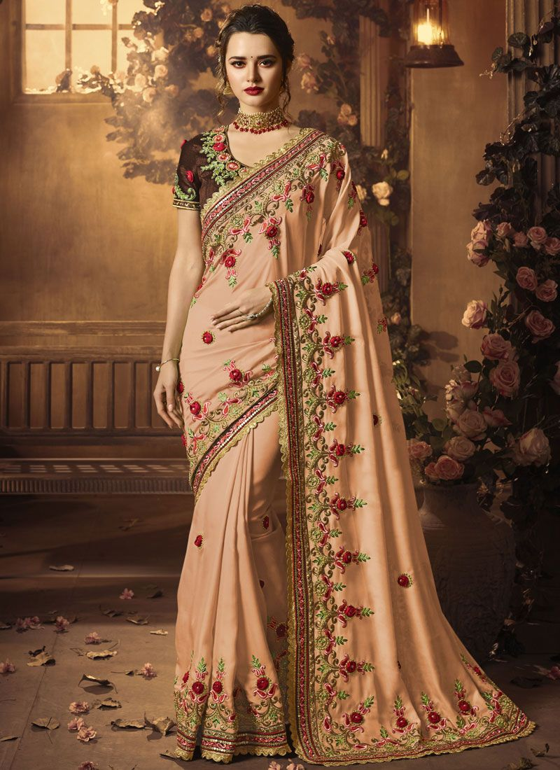 Peach Embroidered Wedding Designer Traditional Saree