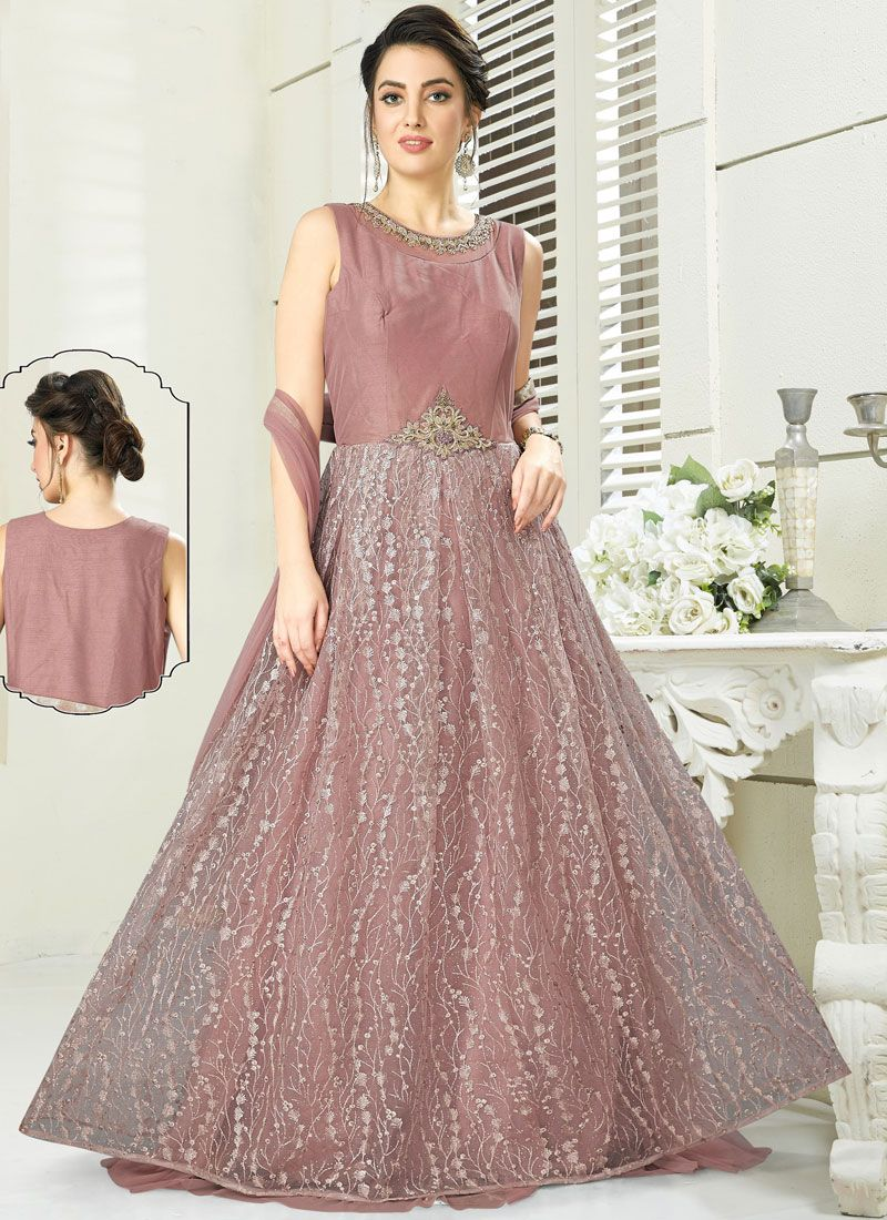 Peach Embroidered Wedding Readymade Gown