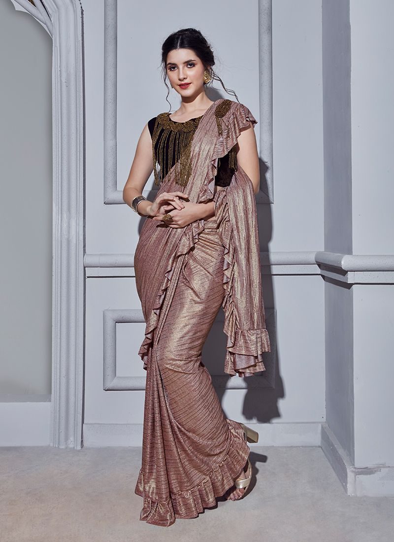 Peach Fancy Fancy Fabric Classic Designer Saree