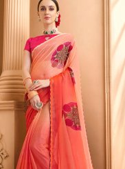 Peach Faux Chiffon Mehndi Casual Saree