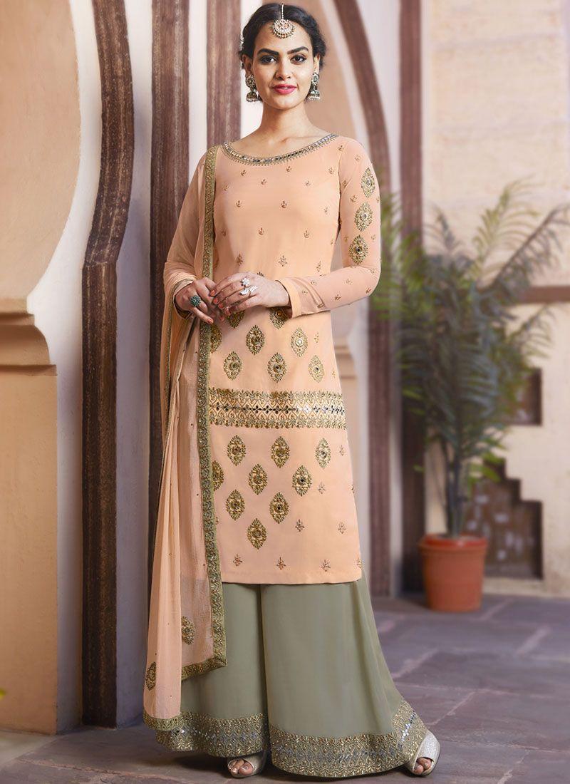 Peach Faux Georgette Designer Pakistani Suit
