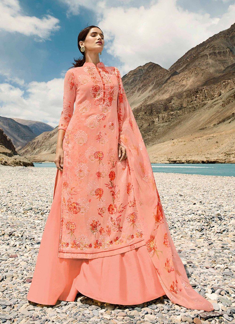 Peach Faux Georgette Digital Print Designer Pakistani Suit