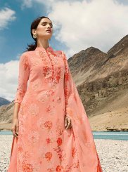 Peach Faux Georgette Digital Print Designer Pakistani Suit