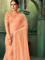 Peach Faux Georgette Embroidered Traditional Designer Saree