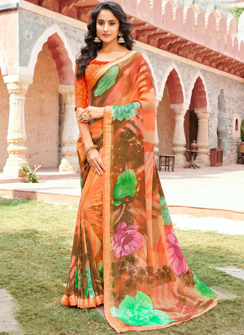 Peach Faux Georgette Festival Casual Saree