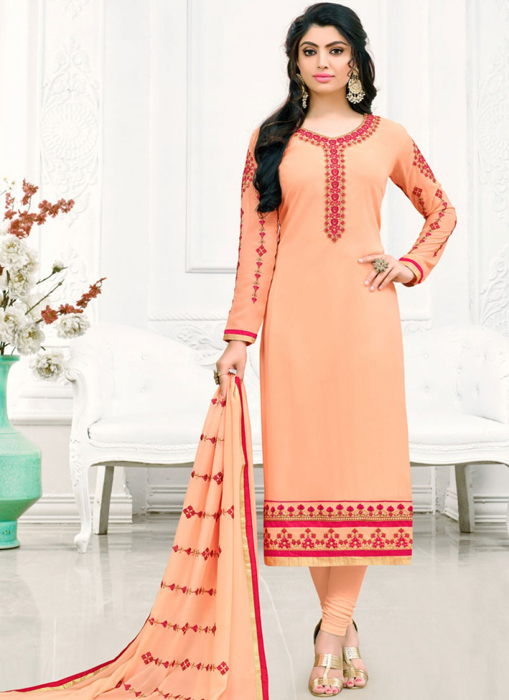 Peach Faux Georgette Party Churidar Salwar Suit