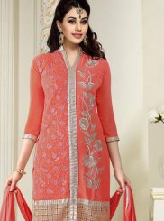 Peach Faux Georgette Trendy Churidar Salwar Suit