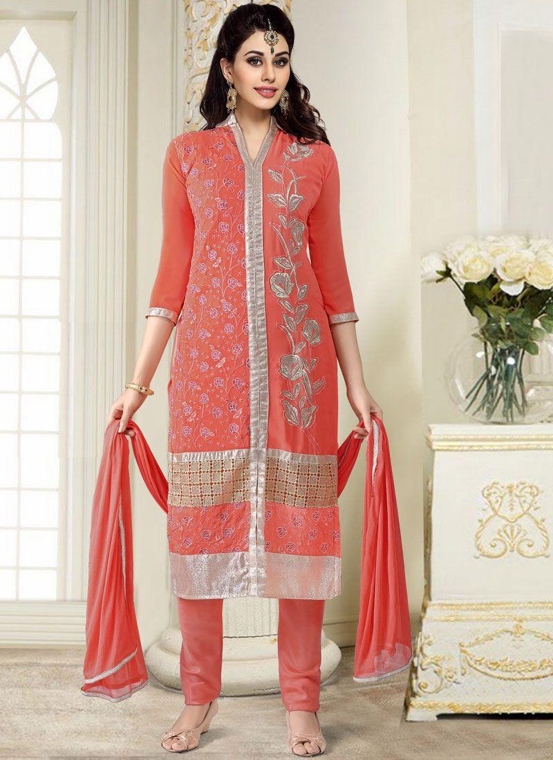 Peach Faux Georgette Trendy Churidar Salwar Suit