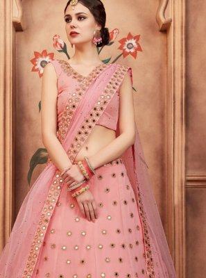 Peach Faux Georgette Wedding Lehenga Choli