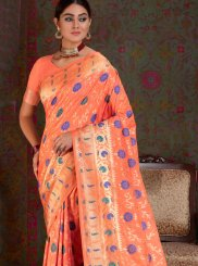 Peach Festival Art Silk Traditional Saree
