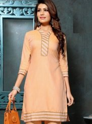 Peach Festival Fancy Fabric Party Wear Kurti