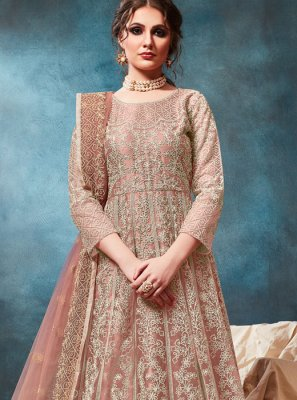 Peach Festival Net Trendy Anarkali Salwar Suit