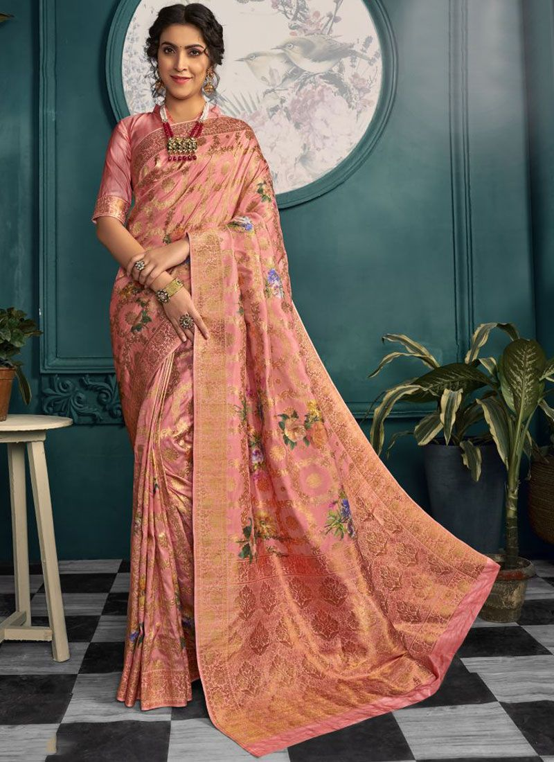 Peach Festival Printed Saree