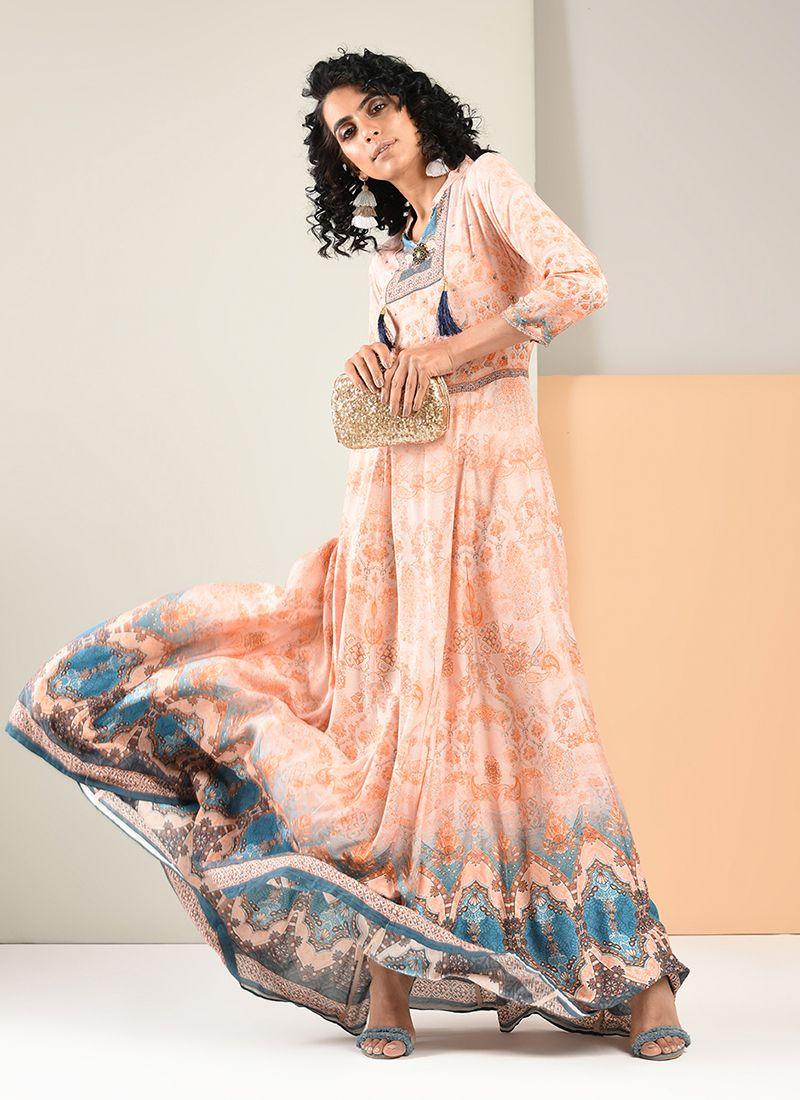 Peach Festival Rayon Trendy Gown