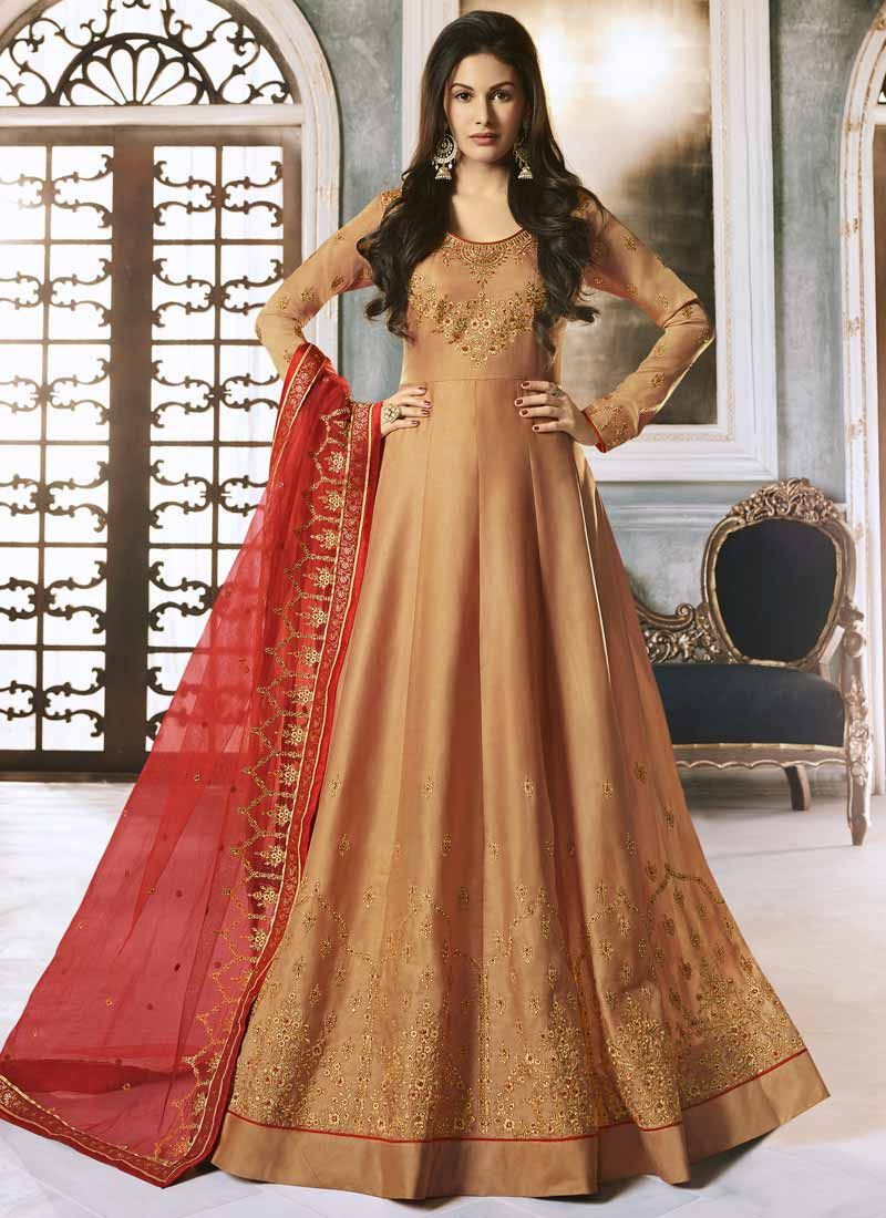 Peach Floor Length Anarkali Suit