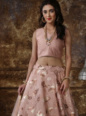 Peach Foil print Art Silk Lehenga Choli