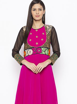 Hot Pink Georgette Ceremonial Designer Kurti