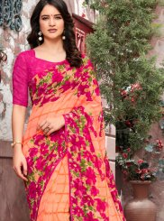 Peach Georgette Printed Trendy Saree