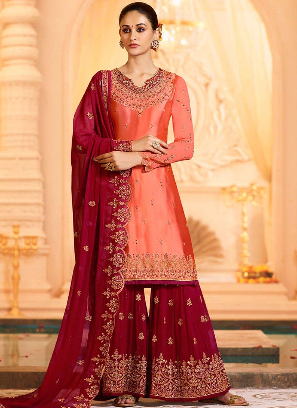 Peach Georgette Satin Ceremonial Designer Pakistani Suit