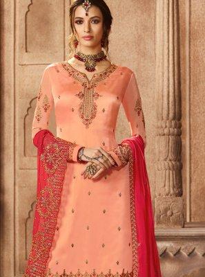 Peach Georgette Satin Wedding Designer Pakistani Suit