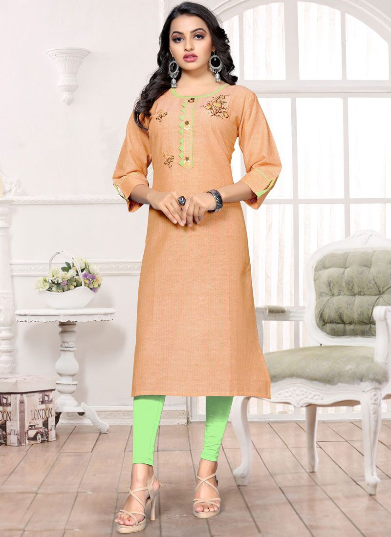Peach Handwork Party Wear Kurti