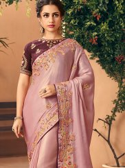 Peach Handwork Silk Traditional Saree
