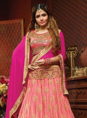 Peach Lace Art Silk Lehenga Choli