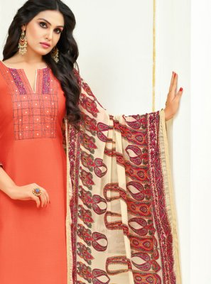 Peach Lace Cotton Churidar Suit
