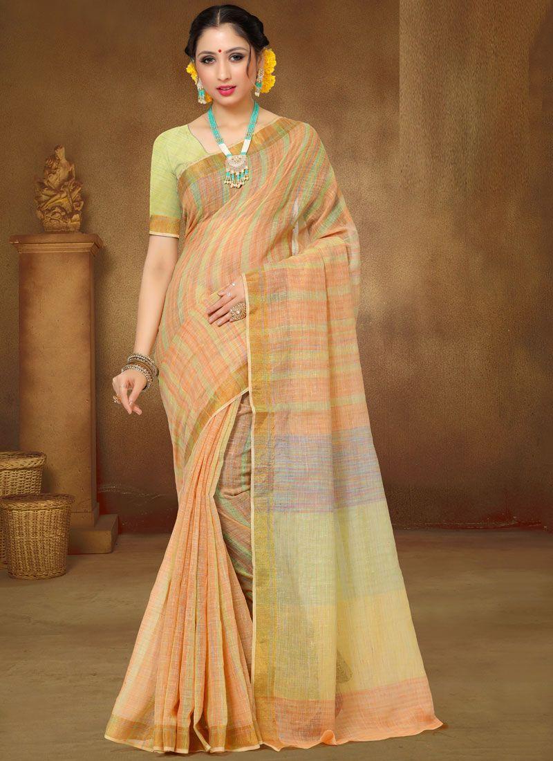 Peach Linen Classic Designer Saree