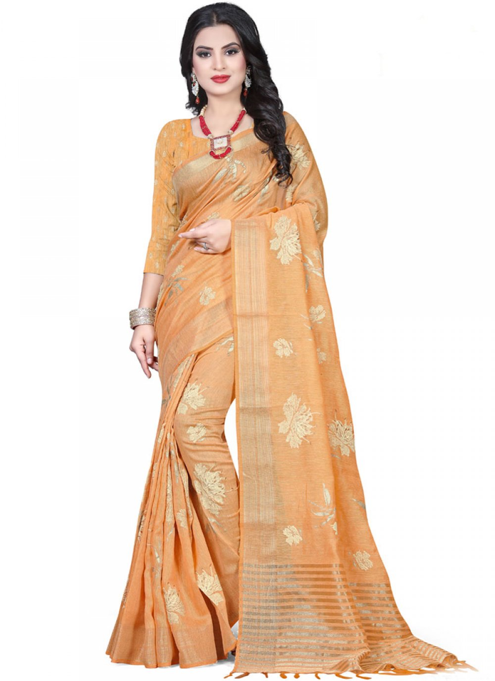 Peach Linen Wedding Classic Saree