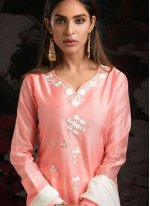 Peach Machine Embroidery  Chanderi Designer Salwar Kameez