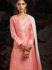 Peach Machine Embroidery  Chanderi Designer Salwar Kameez