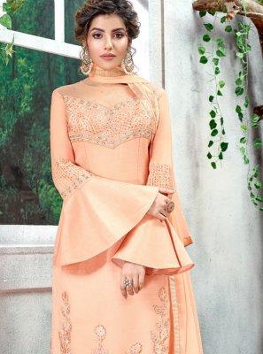 Peach Mehndi Designer Salwar Kameez