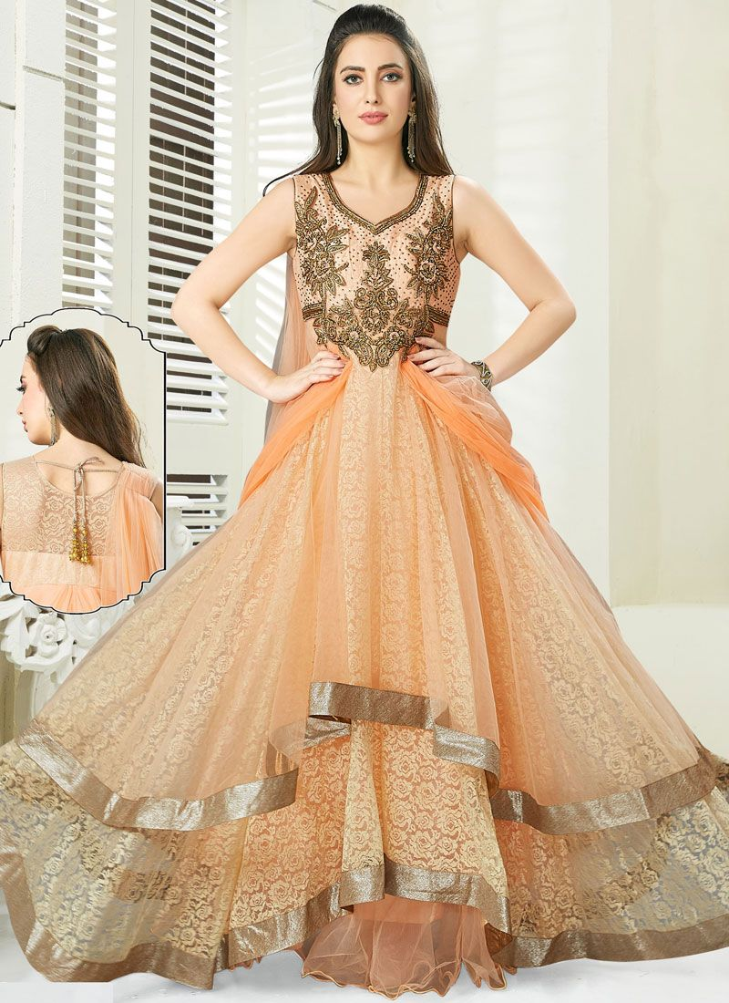Peach Net Handwork Anarkali Salwar Suit